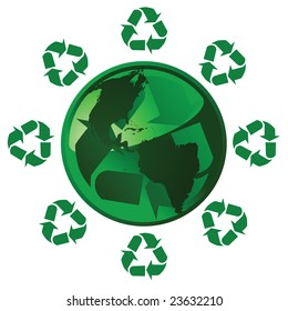 Jpeg illustration of a glossy green Earth with a recycling theme