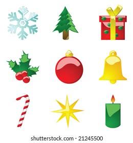 Jpeg illustration set of glossy Christmas icons