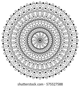 Jpeg line drawing of mandala  designed for adult coloring book.