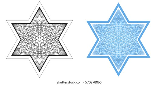 Jpeg line drawing of Star of David in black and white and blue and white.