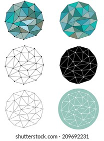 A JPEG set of different versions and styles of a polygonal circle pattern