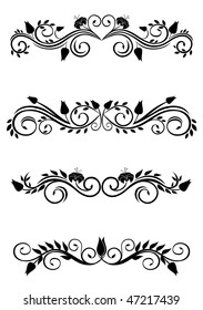 Jpeg version. Vintage floral decorations isolated on white for design. Vector version is also available