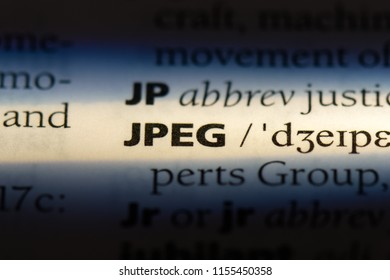 jpeg word in a dictionary. jpeg concept.
