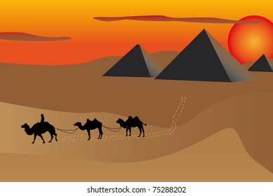JPG illustration of pyramids and camels at sunset in Egypt.
