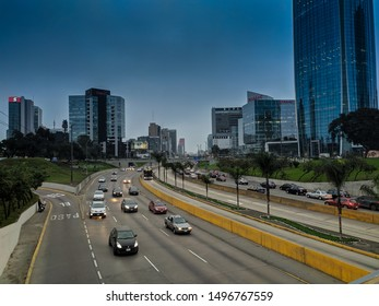 jpg, Lima, Lima, Peru, august 28th 2019 Traffic by night on the highway via expresa in the Peruvian capital