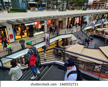 jpg, Lima, Lima, Peru, july 23th 2019  Larcomar, the only shopping center located on a cliff with a spectacular view of the Pacific Ocean and in the heart of the Miraflores