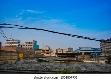 jpg, Lima, lima, Peru, september 10th 2019 Sunset at the old Lima center viewed from the roof