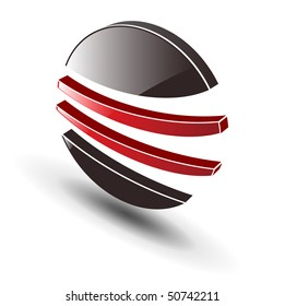 Jpg version. Abstract dynamic shape, symbol  black and red. Vector version in my portfolio.