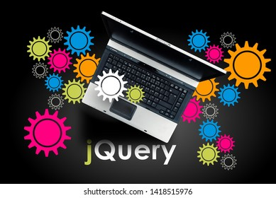 jQuery. Laptop on word jQuery