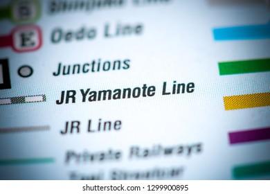 JR Yamanote Line. Tokyo Metro map.