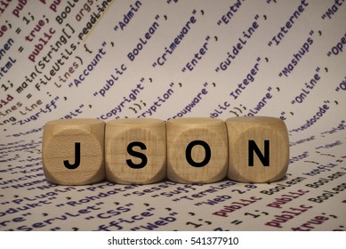 json - cube with letters and words from the computer, software, internet categories, wooden cubes