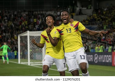 Juan Cuadrado and Yerry Fernando Mina celebrate a equalizing goal. England versus Columbia at World Cup 2018. Spartak Stadium, Moscow. July 3rd 2018.