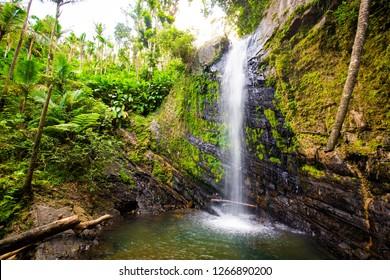 Juan Diego Falls at el Yunque rainforest Puerto Rico at day