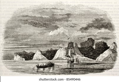 Juan Fernandez islands old view (probably Robinson Crusoe dwelling in Defoe inspiration). Created by Lebreton, published on Magasin Pittoresque, Paris, 1842