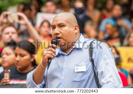 Juan Rogel, activist for Milenio.org organization speaks at a rally to protest president Donald Trump's decision to end DACA in Downtown Portland, Oregon, on September 5th, 2017.