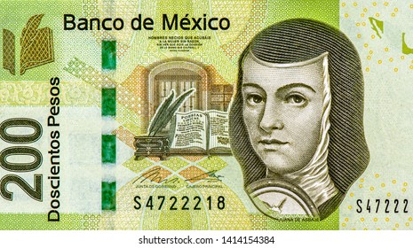 Juana de Asbaje portrait from Mexican money 200 Pesos Banknotes, Mexico money currency. Close Up UNC Uncirculated - Collection.