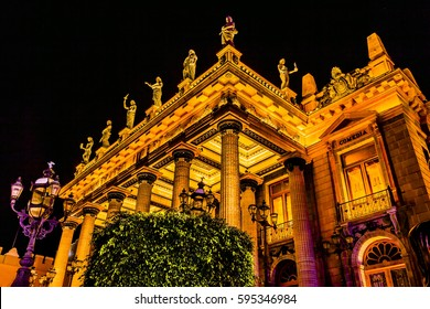 Juarez Theater Statues Night Guanajuato Mexico