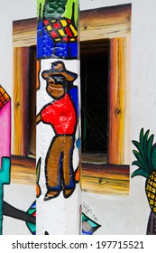 JUAYUA, El SALVADOR - MAY 05:  Mural paintings in La Palma, El Salvador on May 05, 2014. Many houses or walls in El Salvador is decorated in this way.