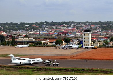 JUBA - JUNE 13: UN aircraft on tarmac at Juba Airport in Juba, capital of South Sudan on June 13, 2011. According to Reuters, the UN Food Program resumed operations in two states in South Sudan.
