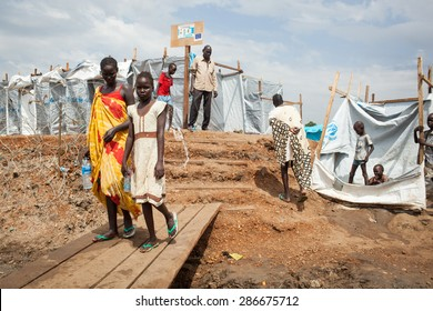 Juba, South Sudan - April 10, 2014: South Sudanese children walk around in a refugee camp