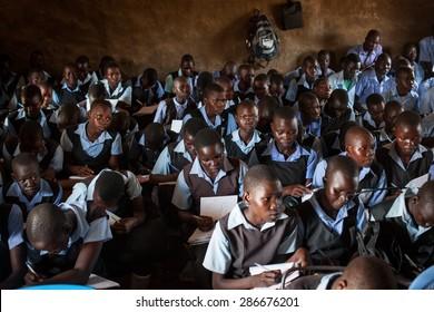 Juba, South Sudan - April 8, 2014: South Sudanese children study in a classroom