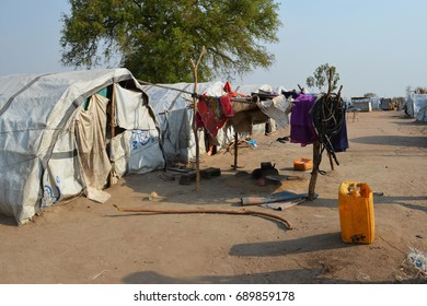 Juba, South Sudan, February 2017. Tent at a salesian camp for internally displaced persons (IDPs). Captured during civil war.
