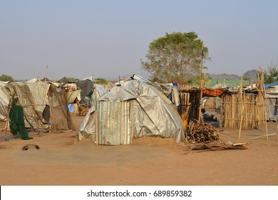 Juba, South Sudan, February 2017. Tents at a salesian camp for internally displaced persons (IDPs). Captured during civil war.