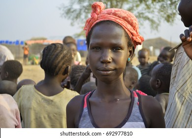 Juba, South Sudan, February 2017. Portrait of a beautiful African girl at a salesian camp for internally displaced persons (IDPs). People in Africa. Captured during civil war.