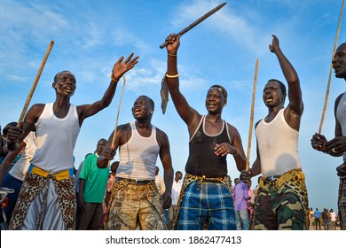 JUBA, SUDAN -Members of the Dinka tribe participate in a traditional celebratory dance during  Independence day on July 9, 2015
