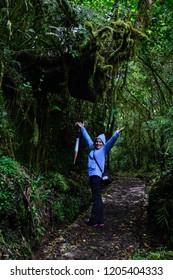 jubilant hiker woman