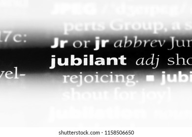 jubilant word in a dictionary. jubilant concept.