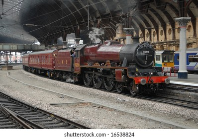 Jubilee class locomotive at York on Scarborough Spa Express