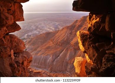 Judean Desert from Masada - Masada National  Park, Dead Sea Region, Israel - July 2016