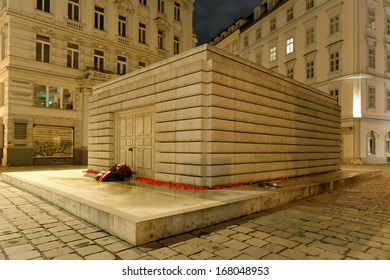The Judenplatz Holocaust Memorial also known as the Nameless Library  in Judenplatz in Vienna. The memorial to the 65,000 murdered Austrian Jews in the Holocaust. Night scene.