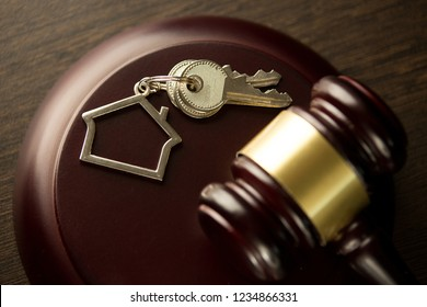 Judge Auctioneer Hammer, Door Key On Wooden Table. Concept For Court, Bankruptcy, Taxes, Mortgage, Auctions, Foreclosure Or Inheritance Of Real Estate