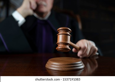 Judge in courtroom. Law and justice concept.