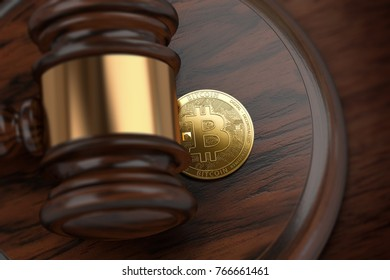 Judge gavel and Bitcoin laying underneath it. Legal situation of bitcoin and stock markets trading it concept. 3D rendering