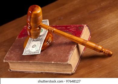 judge gavel  book and corruption money