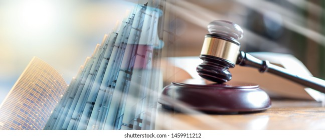 Judge gavel with law books; multiple exposure