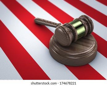 judge gavel on american flag