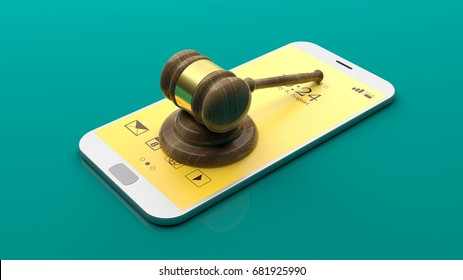Judge gavel on a smartphone on green background. 3d illustration