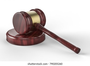 Judge gavel on white background. Justice and Law concept. Close up. 3D illustration