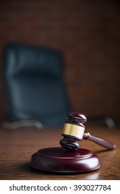 the judge gavel on wooden table