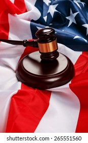Judge gavel over american flag