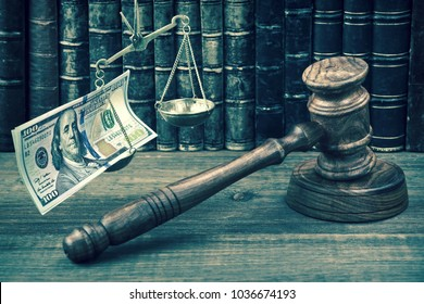 Judge Gavel, Scale Of Justice With Dollar Cash And Law Book On Judges Table. Conceptual Image To Illustration Bail, Bankruptcy, Fee, Tax, Fraud, Monetary Penalty, Fine And Financial Concept.