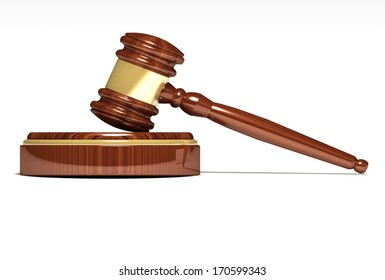 Judge gavel and sound block on a white background. 3d illustration.
