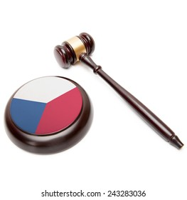 Judge gavel and soundboard with national flag on it - Czech Republic