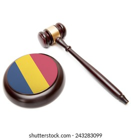 Judge gavel and soundboard with national flag on it - Chad