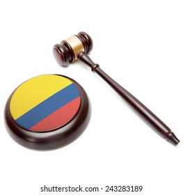 Judge gavel and soundboard with national flag on it - Colombia