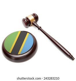 Judge gavel and soundboard with national flag on it - Tanzania